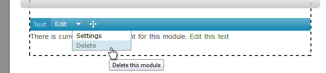 Hover over the arrow on the module's admin bar to bring up the dropdown.