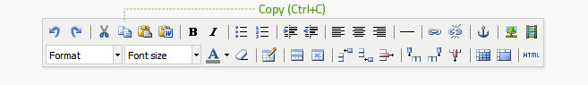 Copy is the fourth button from the left on the top row of the editor. Text must be highlighted before it can be copied. This button does not work on all browsers, use Ctrl+C or Cmd+C instead.