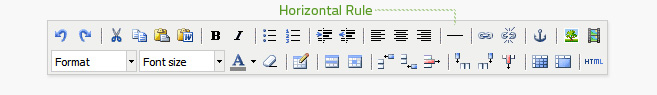 Horizontal Rule is the sixth button from the right on the top row of the editor. It adds a line wherever the cursor is.