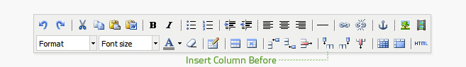 Insert column before is the sixth button from the right on the bottom row of the editor. A table cell must be selected before a column can be added.
