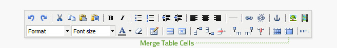 Merge cells is the second button from the right on the bottom row of the editor. Successive table cells must be hightlighted to merge.