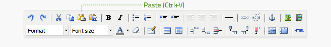 Paste is the fifth button from the left on the top row of the editor. Text or other media must be copied before it can be pasted. This button does not work on all browsers, use Ctrl+V or Cmd+V instead.