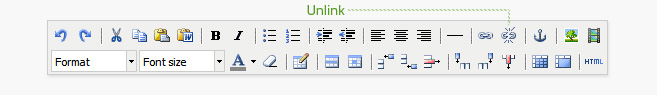 Unlink is the fourth button from the right on the top row of the editor. A link must be selected before it can be unlinked.