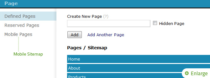 Click Mobile Pages from the Sitemap to open the Mobile Sitemap.